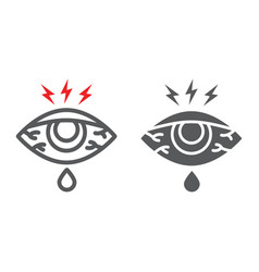 Eye sore line and glyph icon body and injure eye vector