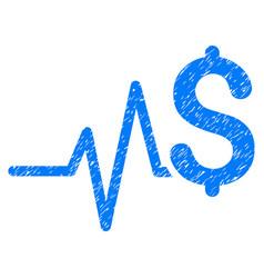 Financial pulse grunge icon vector