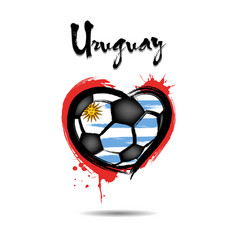 flag of uruguay in the form of a heart vector image