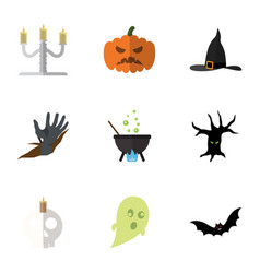 flat icon celebrate set of magic terrible vector image