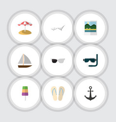 flat icon season set of spectacles yacht beach vector image