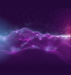 futuristic abstract wire mesh misty mountains vector image