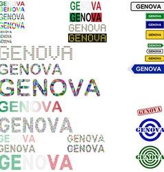 Genova text design set vector