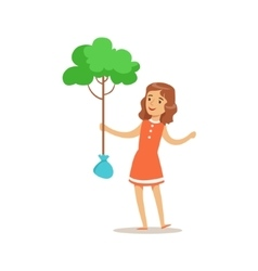 Girl Planting A Tree Helping In Eco-Friendly vector image