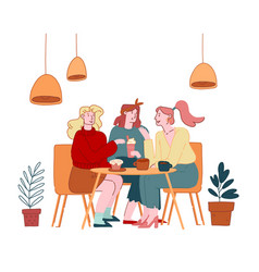 Girls friends company female characters sitting in vector
