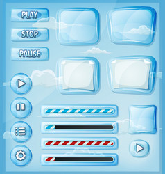 Glass transparent icons set for ui game vector