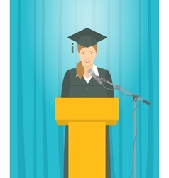 Graduation ceremony speech by Asian girl graduate vector image