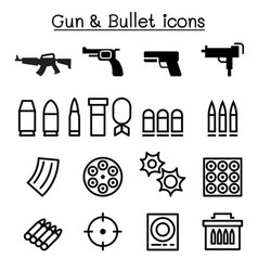gun bullet icon set in thin line style vector image