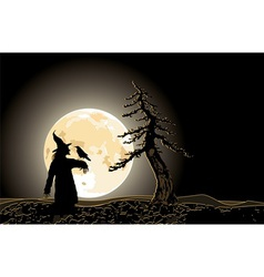 halloween poster with Jack and moon vector image