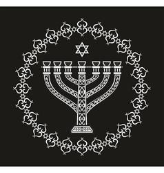 Hanukkah holiday background with menorah vector image