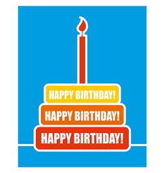 Happy birthday Cake and candles Colour shortcakes vector image vector image
