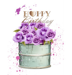 Happy birthday card with watercolor violet roses vector