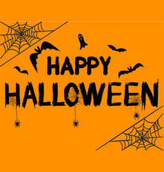 happy halloween text banner with spider ghost vector image