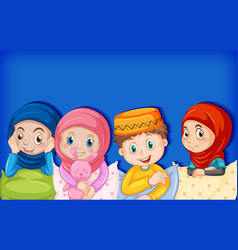 Happy muslim kids in pajamas vector