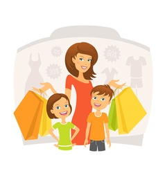 Happy woman with children on shopping vector