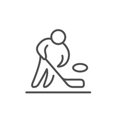 hockey player line outline icon vector image