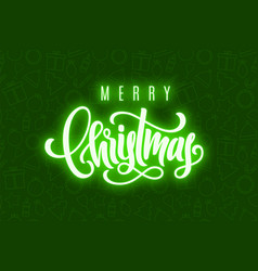 holiday card with shiny lettering merry christmas vector image