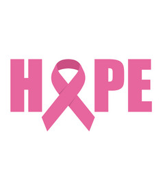 Hope emblem with pink ribbon symbol vector