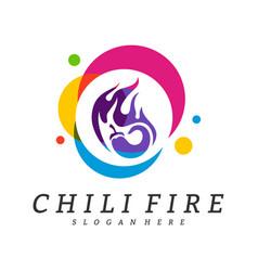 hot chili logo design chili with fire logo vector image