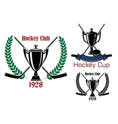 Ice hockey cup and club emblems vector image