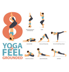 Infographic 8 yoga poses for feel grounded vector