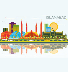 Islamabad pakistan city skyline with color vector