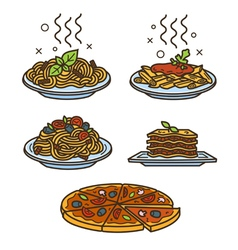 Italian cuisine colored vector