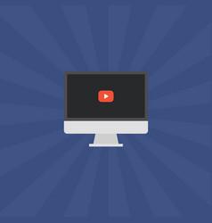 Laptop video play button vector
