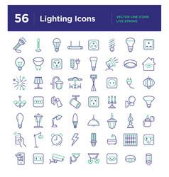 light line icons set vector image