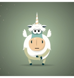 Magic little mythical unicorn with a spiral horn vector image