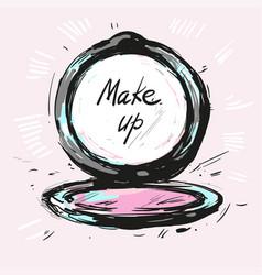 Make up powder hand drawn fashion vector