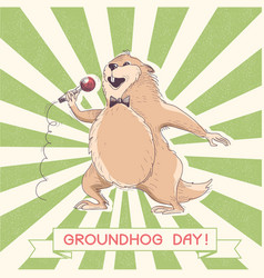 Marmot singer with microphone groundhog day vector