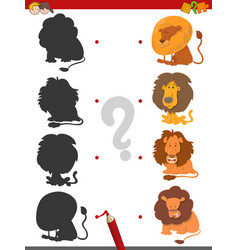 Match shadows game with lions vector