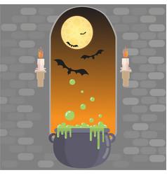 medieval window in castle happy helloween card vector image