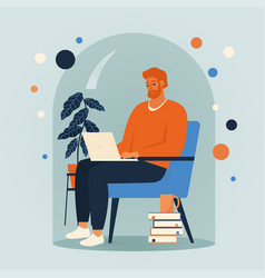 Men siting in a chair and working online at home vector