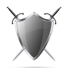 Metallic glittering shield and two swords vector image
