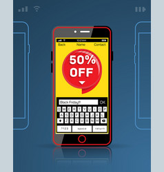 mobile phone black friday cyber monday discount vector image