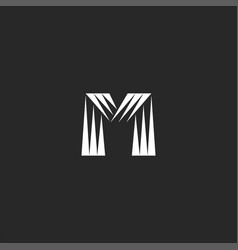 monogram letter m logo triangles shapes striped vector image