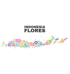 Mosaic flores islands indonesia map gear vector