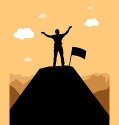 Mountain winner silhouette vector