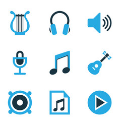 Multimedia colored icons set collection of guitar vector