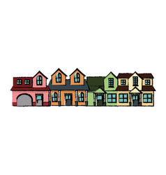 Neighborhood residential building suburban home vector