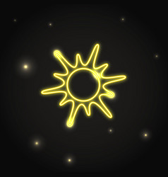 Neon sun icon in thin line style vector