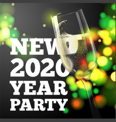 new year banner transparent champagne glass vector image