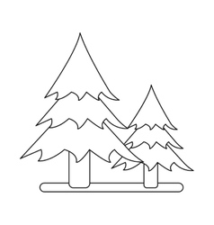 outline two pine tree forest camping icon vector image