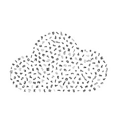 pattern cloud with letters of the alphabet vector image