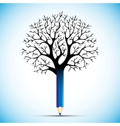 pencil tree color bulb vector image vector image