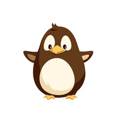 Penguin with wide open wings white belly isolated vector