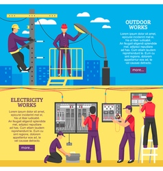 People doing electrical works horizontal banners vector