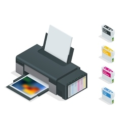 Photo inkjet printer Color printer prints photo vector image